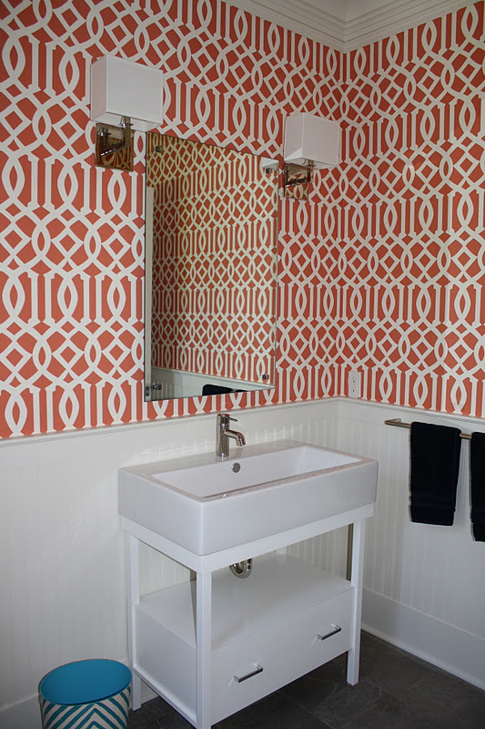 Orange Bathroom Wallpaper Grasscloth