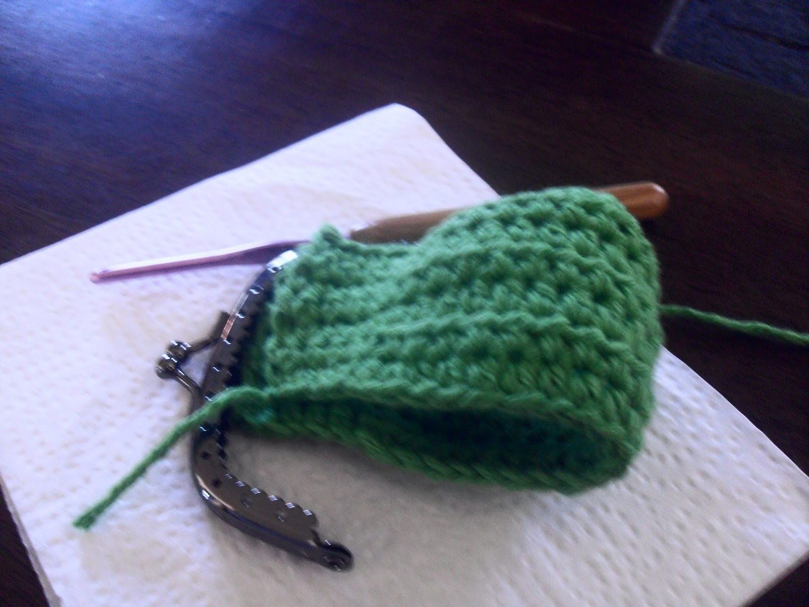 Coin Purse Crochet Pattern : About half way....The shape is becoming more apparent...
