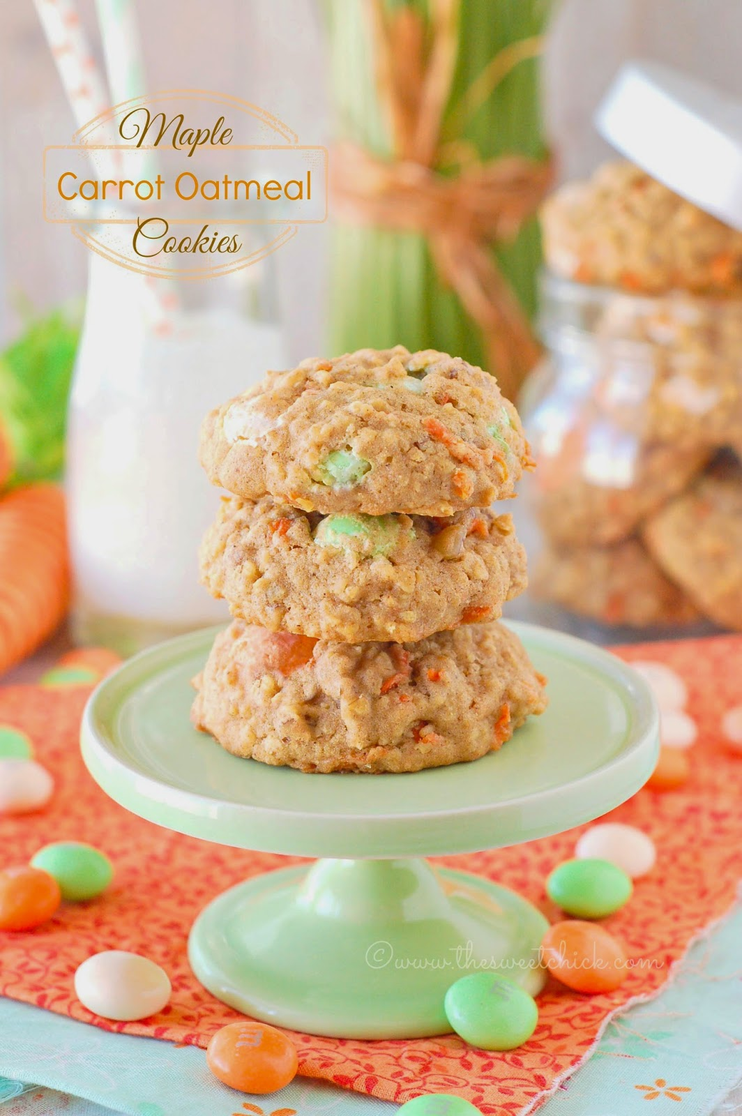 Maple Carrot Oatmeal Cookies by The Sweet Chick