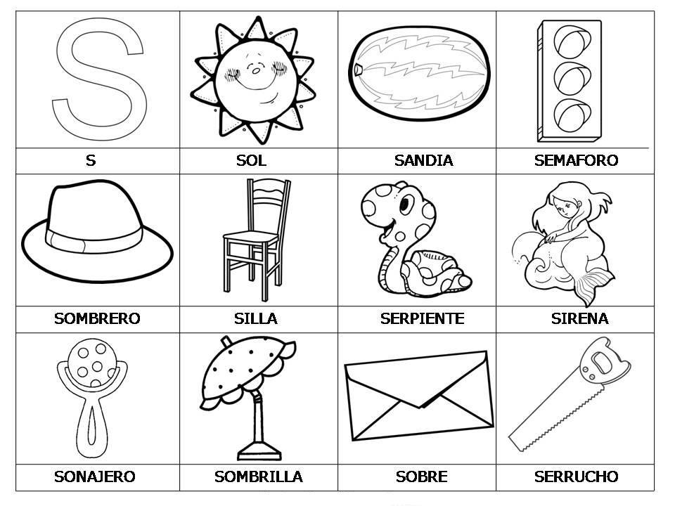Laminas Con Dibujos Para Aprender Palabras Y Colorear Con Letra  S