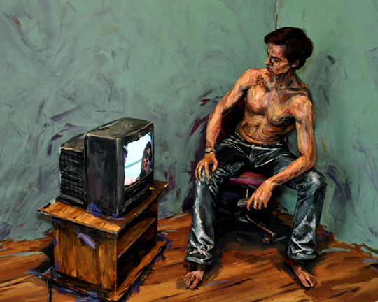 Man watching TV canvas photo