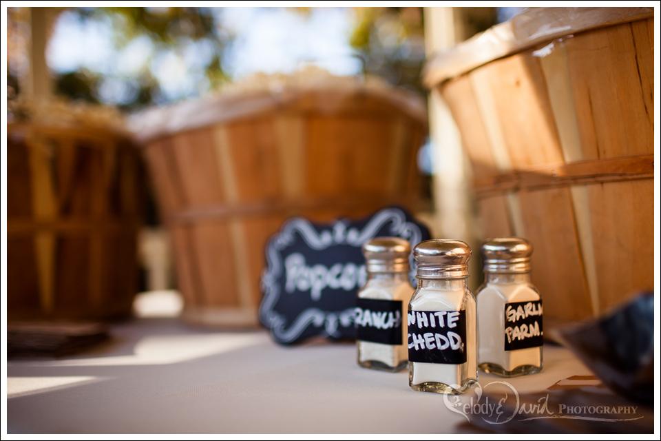 Detail shot of wedding popcorn toppings