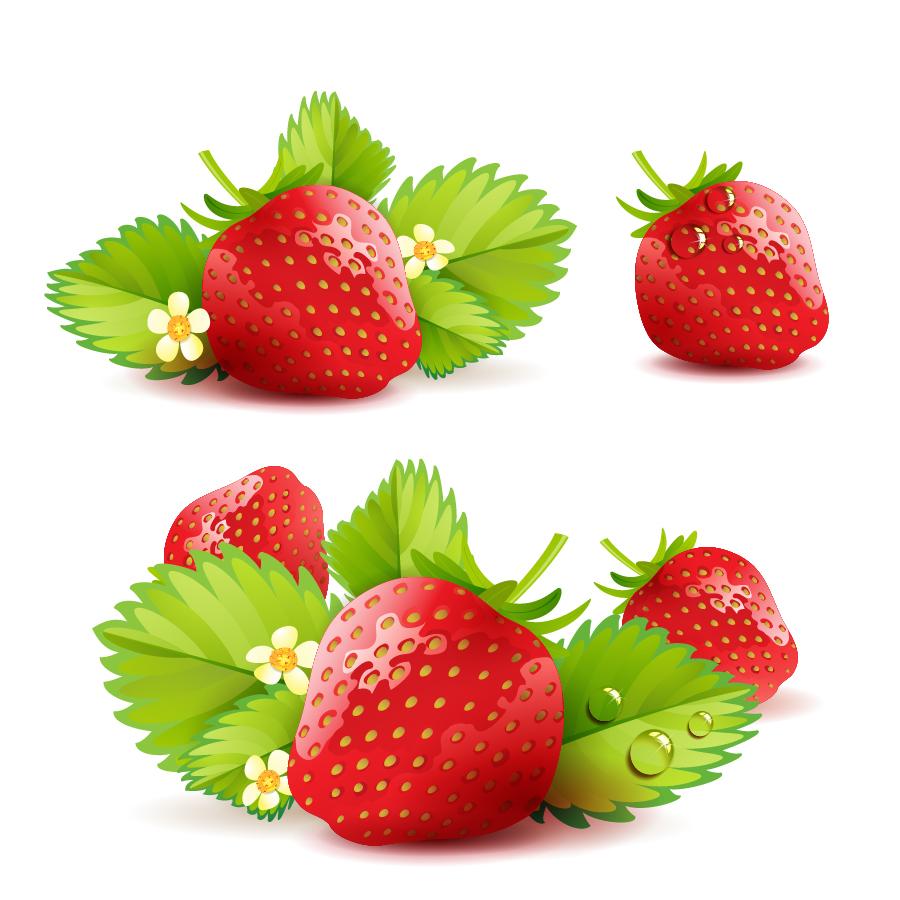 新鮮な苺と葉の背景 fresh strawberry green leaves background イラスト素材
