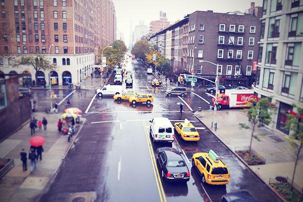 New York Straße Taxi Häuser Oktober 2013