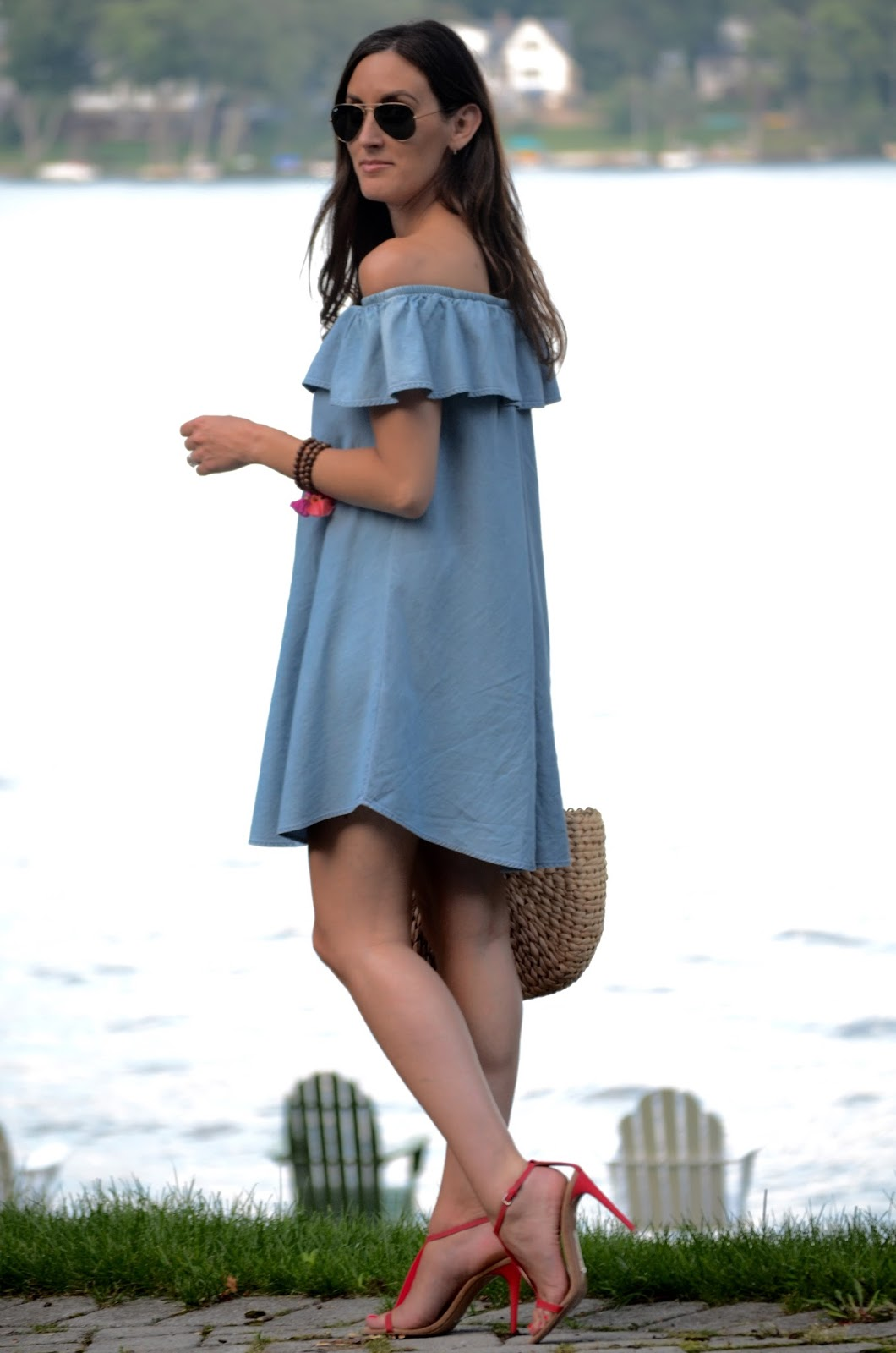 The dress express - Chambray Off The Shoulder Dress Express