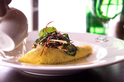 Sydney Crab Omelette, enoki mushroom and herb salad served with miso ...