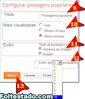 configurar postagens mais visitadas no blogger com nova interface atualizada