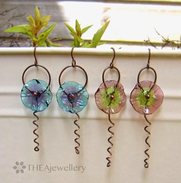 Flower tendril earrings