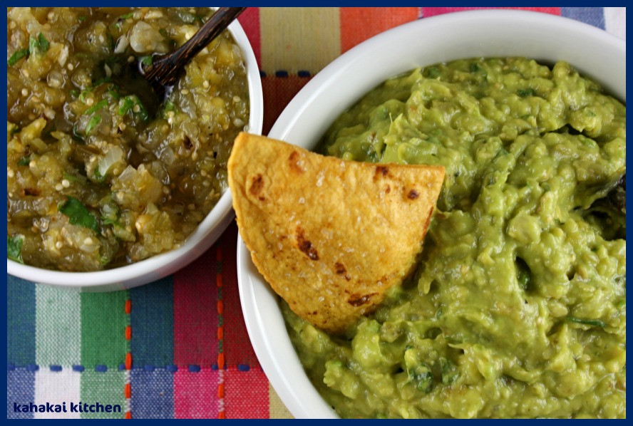 Green Guacamole with Roasted Tomatillo Salsa w/ Serranos, Roasted ...