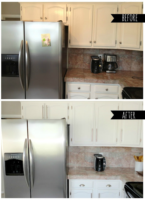 Livelovediy how to paint kitchen cabinets in 10 easy steps for Painting wood cabinets white before and after
