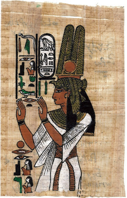 Papyrus decorated with ancient Egyptian pictures