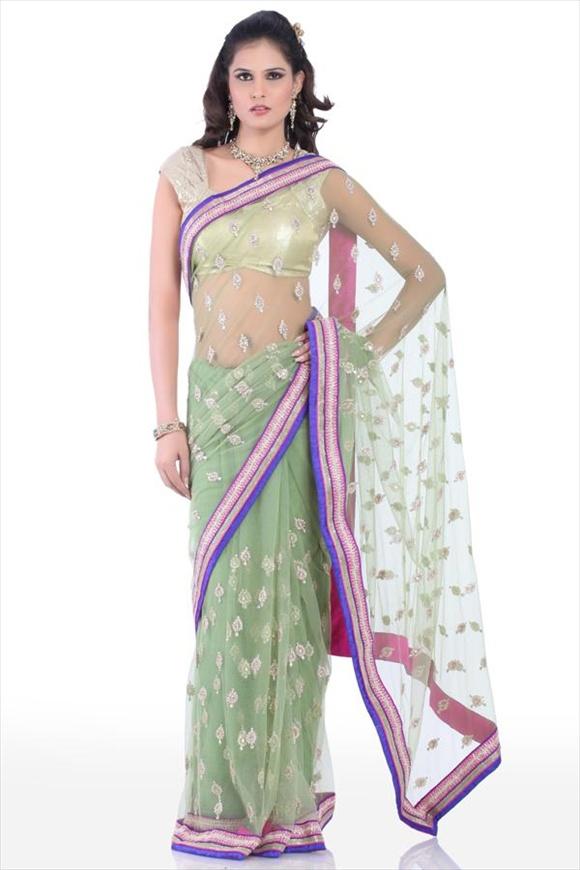 Forest Green Net Saree