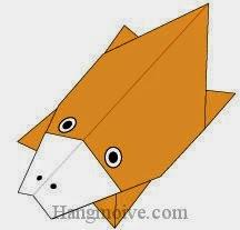 Bước 14: Vẽ mắt, mũi để hoàn thành cách xếp con thú mỏ vịt bằng giấy theo phong cách origami.