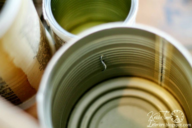 DIY Tin Can Organizer Tutorial by http://knickoftimeinteriors.blogspot.com/