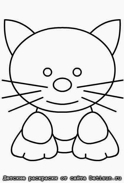 Раскраска котик для детского садика.