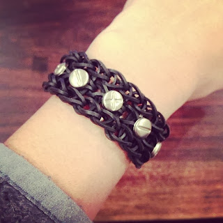 black studded rainbow loom bracelet