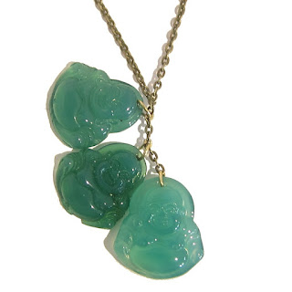 Chalcedony Laughing Buddha Necklace