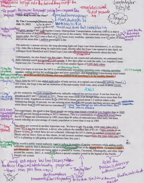 How to annotate an essay