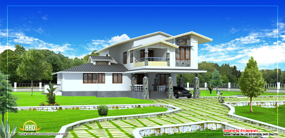 2 Storey house plan - 2490 Sq. Ft. (231 Sq. M.) (276 square yards)