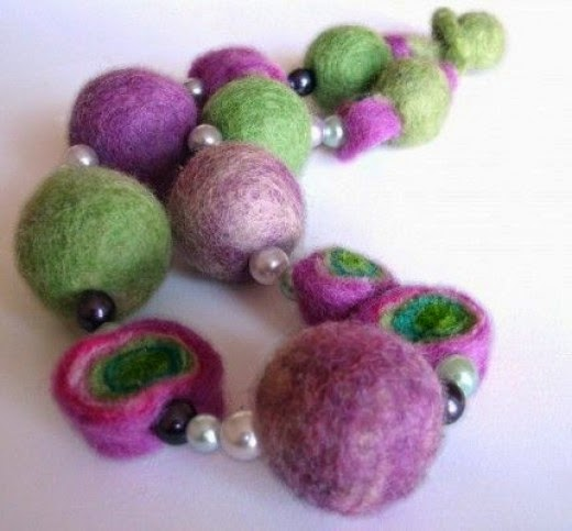 Short Eclectic Lavender Felt Necklace handcrafted by vaivanat