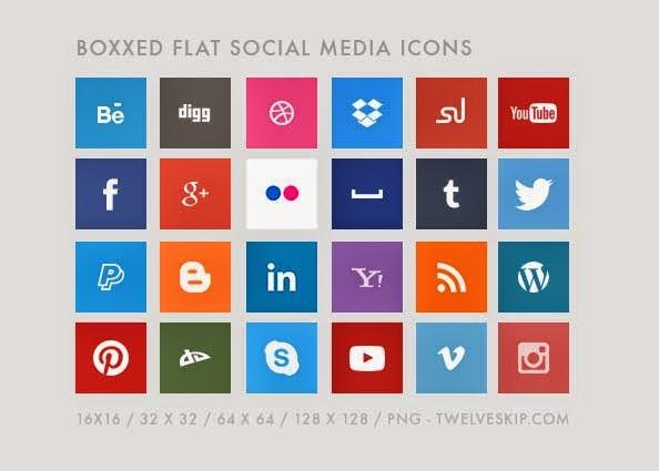 24 Popular Flat Social Media Icons