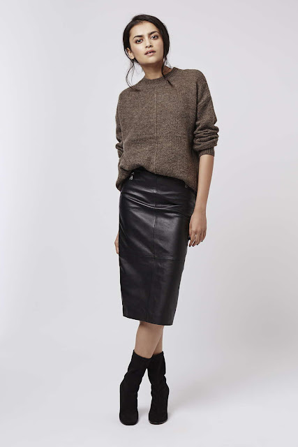 topshop leather midi skirt, real leather midi skirt, leather pencil skirt,