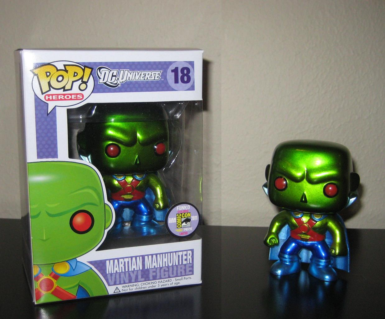 The Blot Says Sdcc 2011 Exclusive Martian Manhunter Metallic Funko Pop Comics Hellboy In Suit San Diego Comic Con Variant Dc Universe Heroes