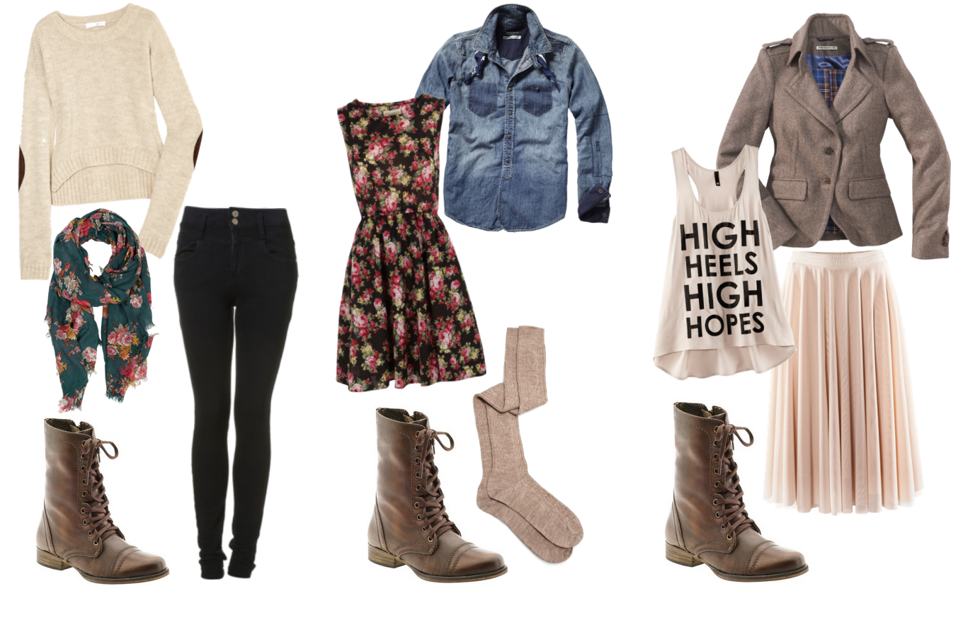 Joyful Outfits: How to wear: brown combat boots