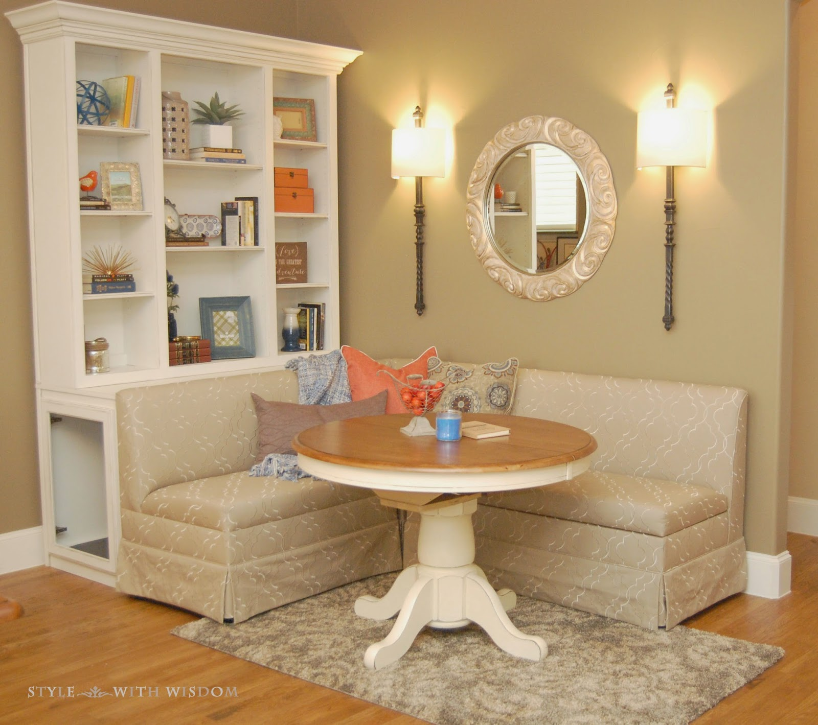 Breakfast Nook Navy and Orange