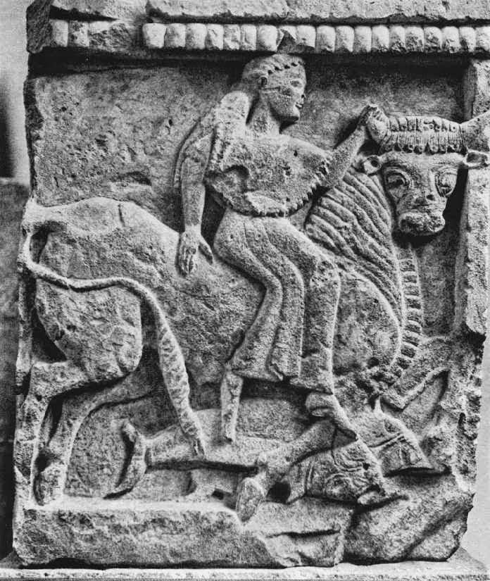 Η αρπαγή της Ευρώπης. Μετόπη από το ναό της Ήρας στο Σελινούντα της Σικελίας, 6ος αι. π.Χ. Παλέρμο, Regional Archaeological Museum