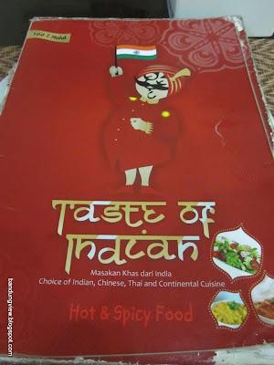 Menu taste of India