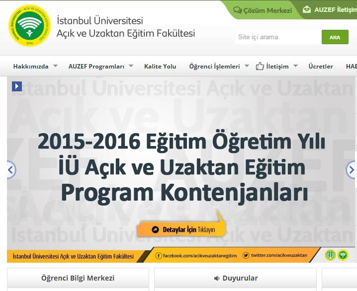 Istanbul üniversitesi Uzaktan Eğitim Bölümleri 2015 2016 Uzaktan