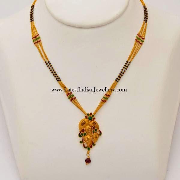 Stylish Black Beads Gold Necklace