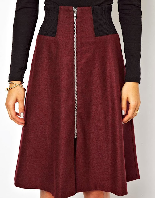 oxblood midi skirt