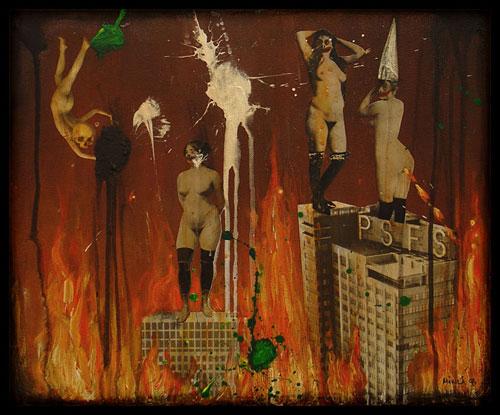 Downtown, técnica mixta, obra de Mia Mäkilä, mujeres vintage ardiendo en un infierno moderno
