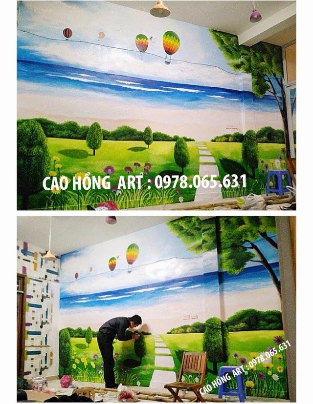 tranh tường quán cafe đẹp