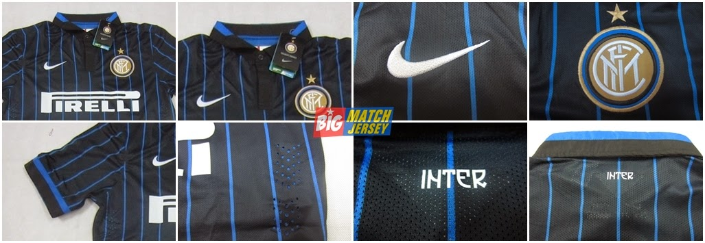Detail Jersey Player Issue Grade Ori FC Internazionale Milan Home Black Blue 2015 Home Official