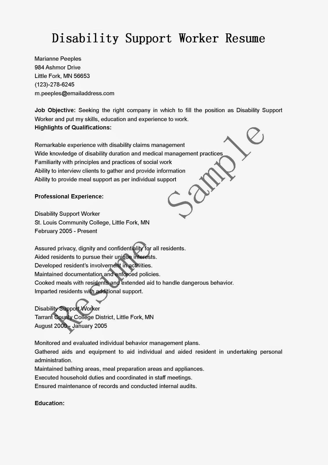 resume samples  disability support worker resume sample