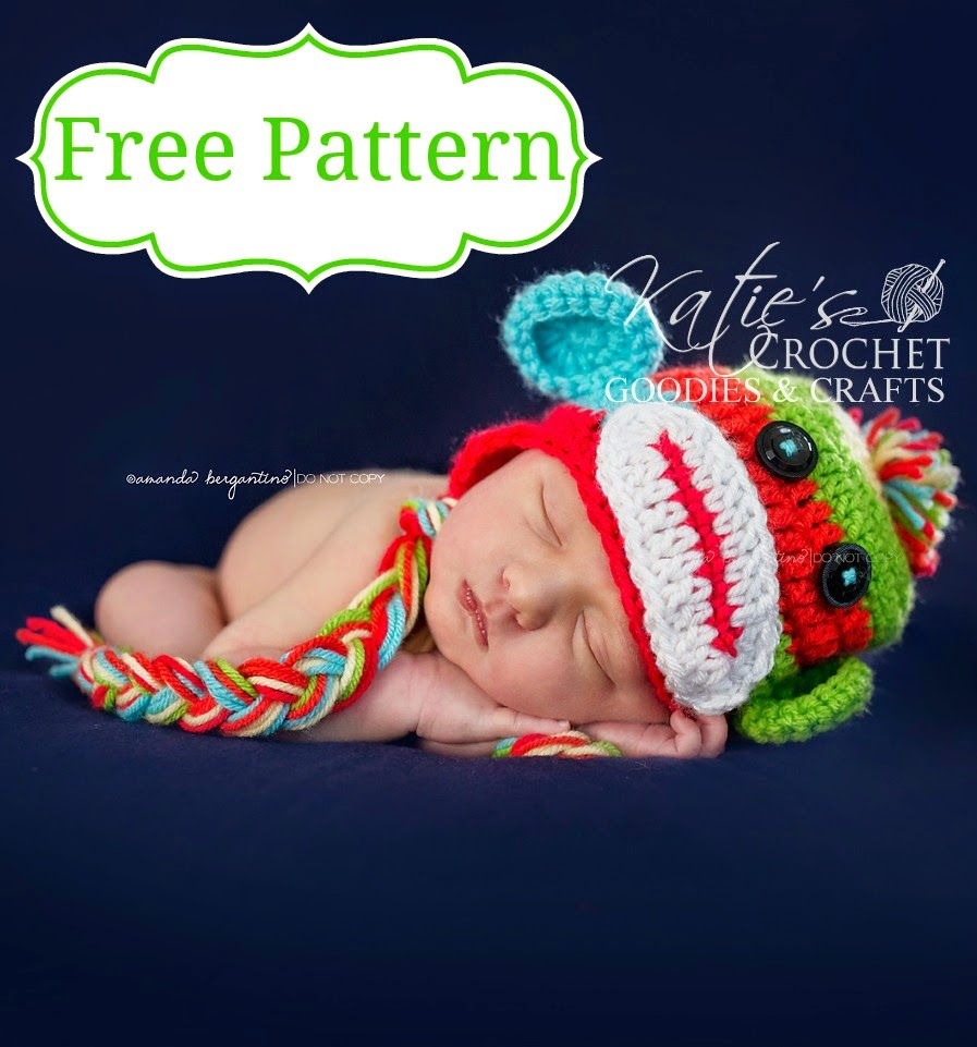 Free Crochet Patterns Monkey Hat : Free Sock Monkey Crochet Hat Pattern - Katies Crochet Goodies