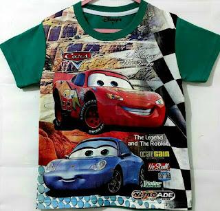 Baju Anak Karakter Cars Nitro Hijau Size 1 - 6 Tahun