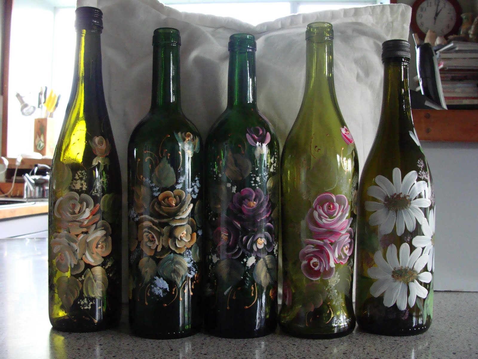 Christine flannery glass painting hand glass painting bottles for How to paint glass bottles