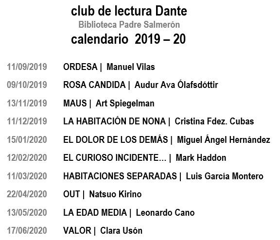 Calendario de lecturas 2019-20