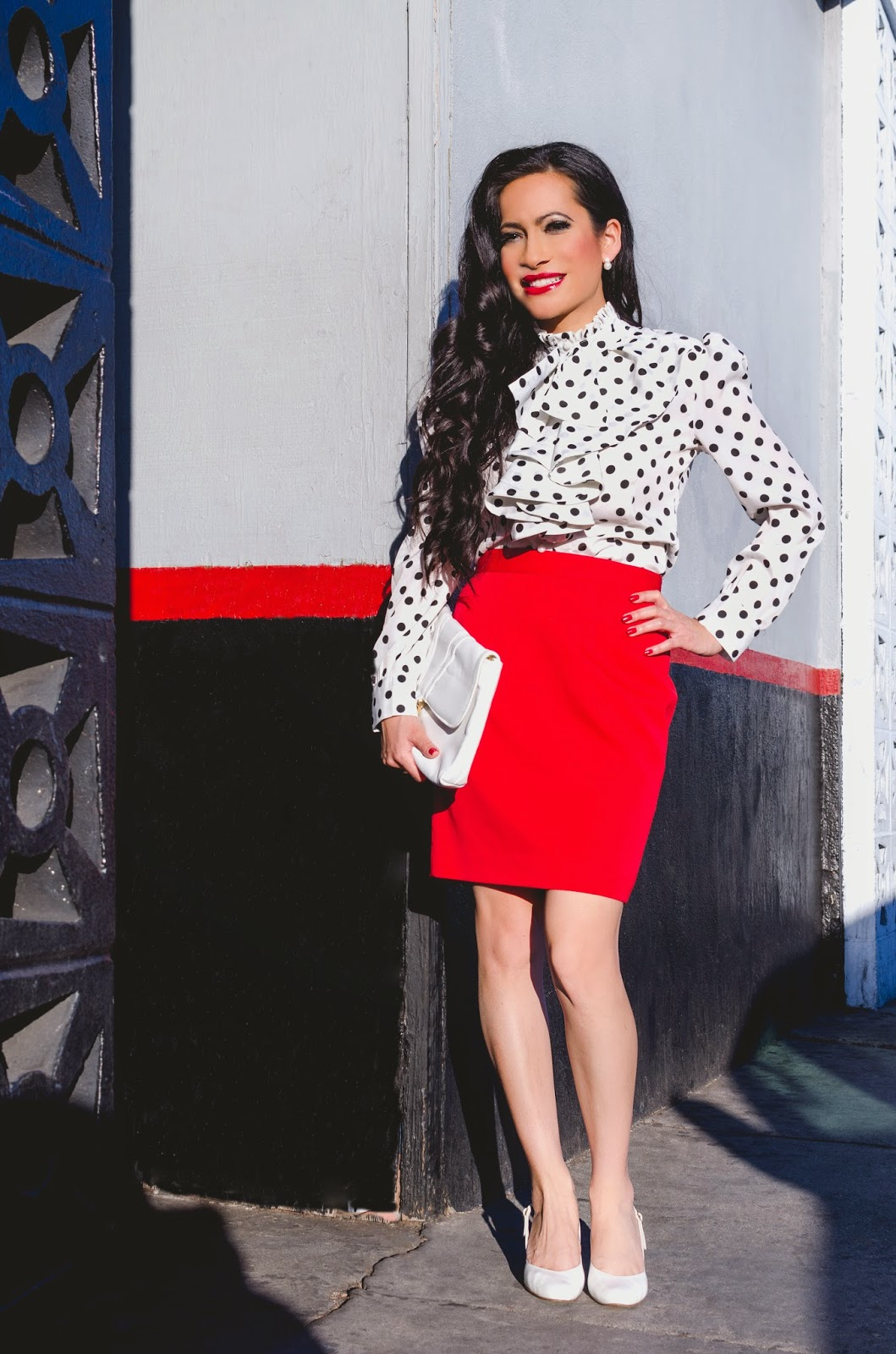 Yanyifang Polka Dot Ruffle Shirt Red Pencil Skirt Vintage Shoes White Flap Bag