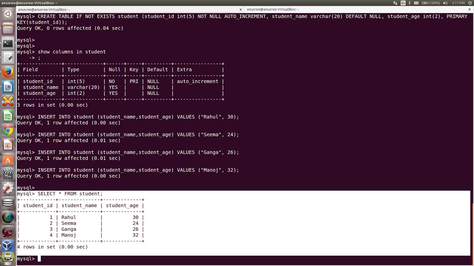 Anusree Table Manipulation In Mysql Ubuntu