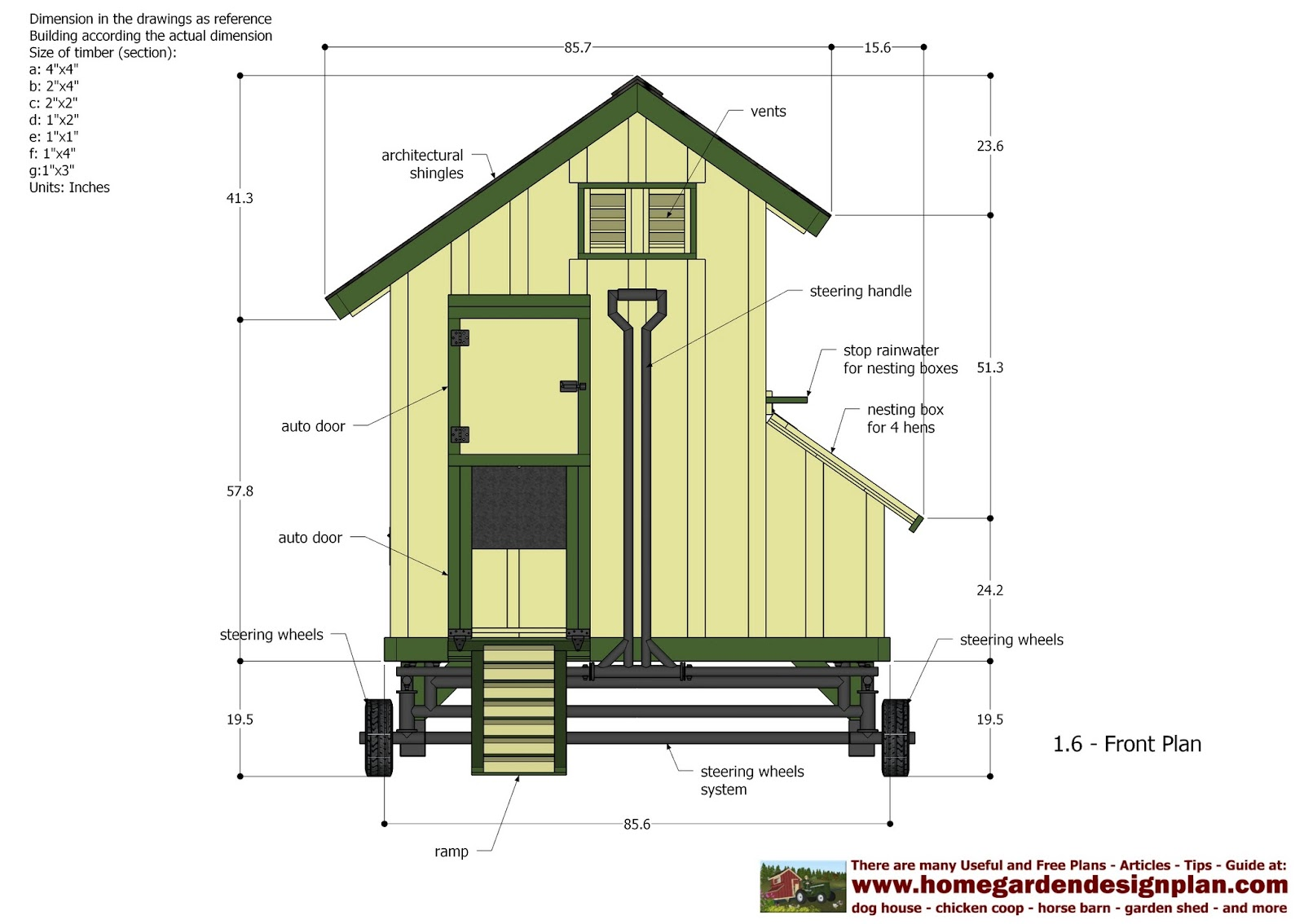 Home garden plans t200 chicken coop tractor plans for Free coop plans