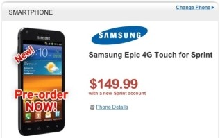 Sprint Samsung Epic 4G Touch just $149.99 on pre-order