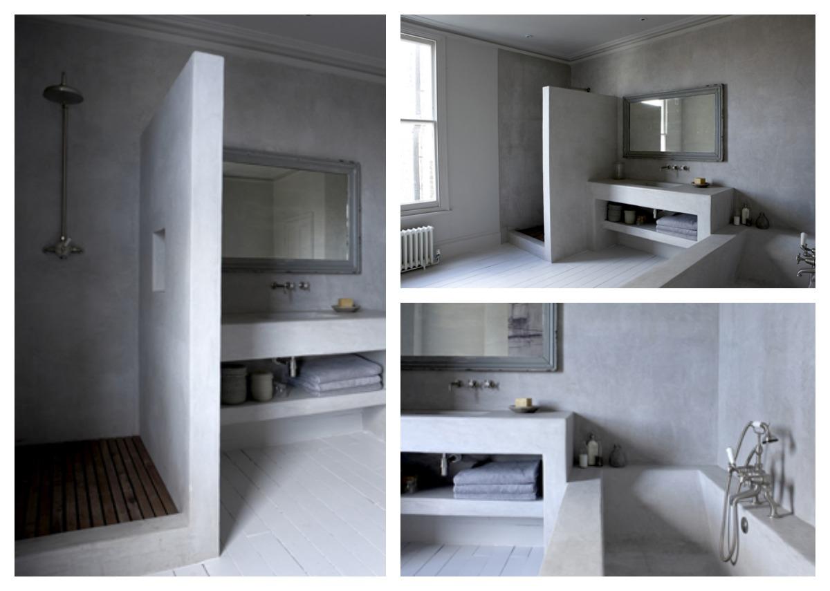 Ba os de concreto pulido for Pared de bano de concreto encerado