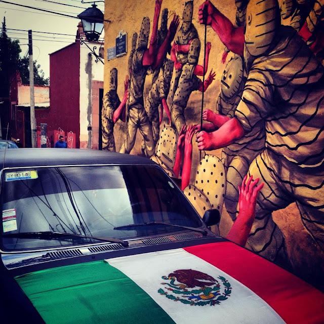 Street Art By JAZ in Queretaro Mexico For Board Dripper StreetArt / Graffiti Festival. view with mexico flat