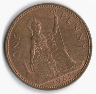 1962 UK penny showing BRitannia