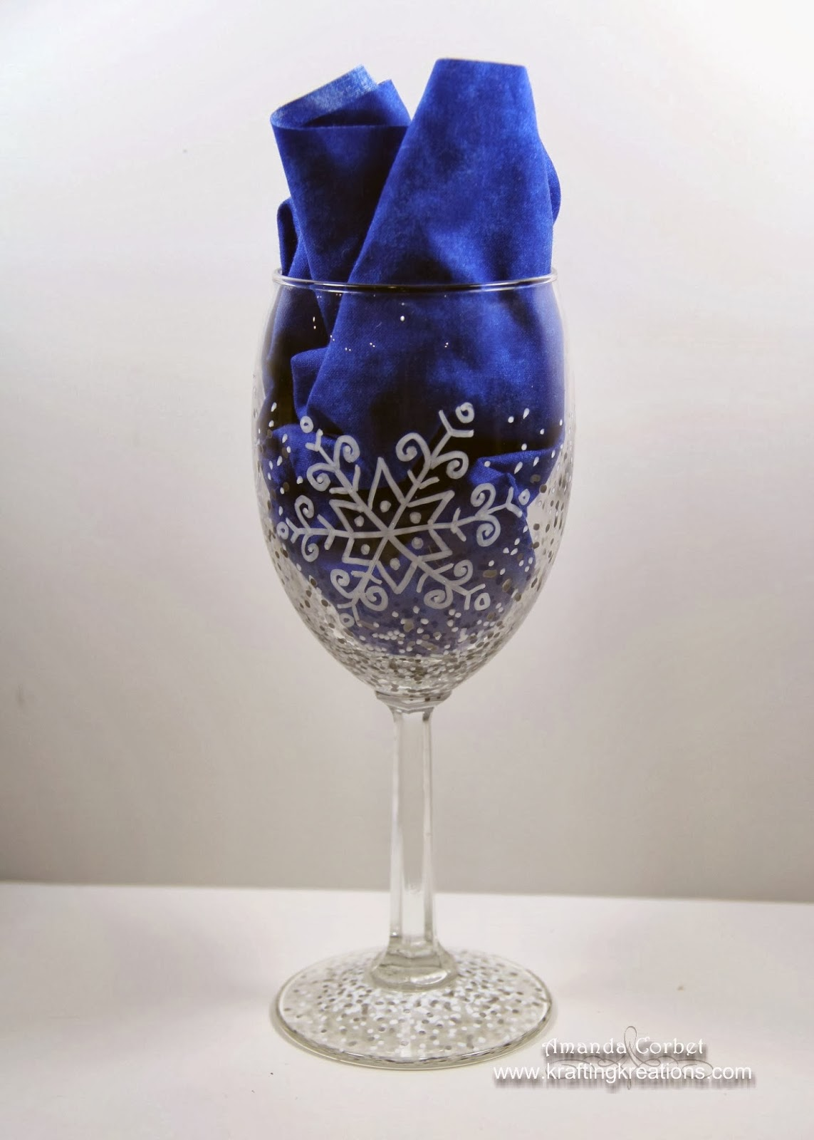 Krafting kreations diy snowflake wine glasses for Diy painted wine glasses